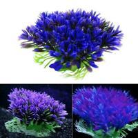 Fish Tank Aquarium Decor Accessories Artificial Water Purple Plastic Grass V4J0