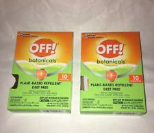 TWO Boxes OFF Botanicals 20 Towelettes Natural Insect Mosquito Repellent