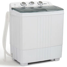 Portable Mini Washing Machine Compact Twin Tub 11lb Washer Spin U0026 Dryer,  White