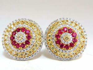 9.55ct natural ruby diamonds cluster earrings 18k Circular Dome Omega Clips