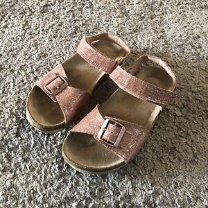 Next Girls Rose Gold Glitter Sandals Size 10