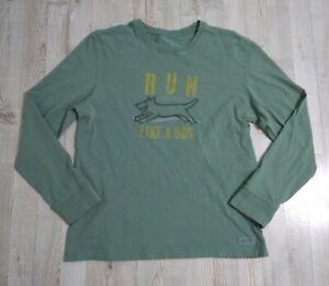 Life is Good Run Like A Dog Long Sleeve Shirt Green Men's Medium