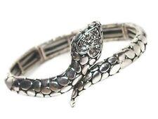 Crystal Snake Stretch Bracelet in Silver or Gold