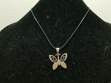 Necklace On Waxed Cord Z16 Butterfly - Stainless Steel Charm Pendant