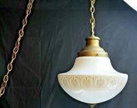 Vintage Mid Century Hanging Swag Light White Globe Gold Accents Home Lighting