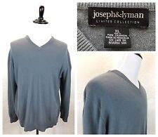 #S38 Joseph & Lyman XL 100% Cashmere Blue Gray V-Neck Sweater