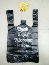 Black Thank You Plastic T-Shirt Bags 1/8 Retail Shopping Bags 10