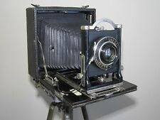 "Antique Folding Kodak Primo No.9  5X7"" box camera w/ 3 Plates, Vintage Tripod"
