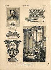 Joseph-Louis Léopold Double collectionneur Encrier Marie-Antoinette GRAVURE 1881