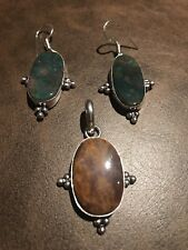 Blood Stone Pendant & Earring Set Genuine 925 Sterling Silver Brand New