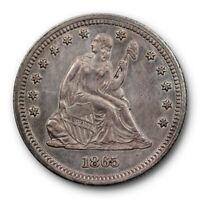 1865 25C Seated Liberty Quarter Extra Fine XF X.F Philadelphia Mint Better Date