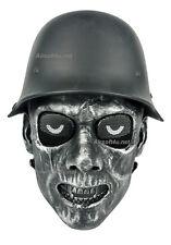 CS Games Tactical Military Silver BLK Skull Skeleton Face Mask with Half Helmet