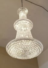 """Brand New Chrome Finish Egyptian Crystal Chandelier 36"""" x 66"""" Large !"""