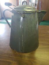Vintage Large Graniteware Mottled Gray Enamel Ware Coffee Pot Cowboy Kettle
