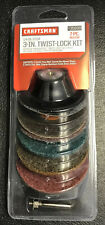 "NEW Craftsman 3"" Twist Lock Kit with Holder & Sanding & Buffing Discs 7 Piece"