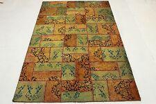 Tappeto Orientale Patchwork Vintage moderno chic verde arancione 310x200