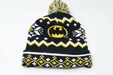 BATMAN DC COMICS YELLOW BLACK Knit Pom Beanie - Ugly Sweater Hat - Fair Isle OS