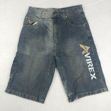 Avirex Boys 14 Jean Shorts Blue Denim Flat Front Embroidered Logo Pockets Cotton