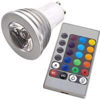3W GU10 16 Couleurs Changeant RGB LED Lumiere Ampoule avec Telecommande WT
