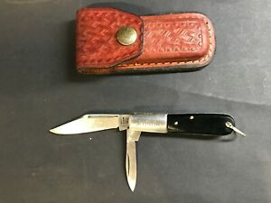 Vintage Bunny Knife in Tooled Leather Pouch