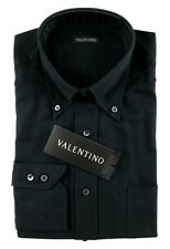 Men's VALENTINO Solid Black Cotton Button Collar Dress Shirt 15.5 39 M MSRP $245