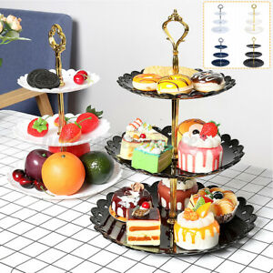 3 Layer Round Cake Snack Stand Tray Home Wedding Party Cupcake Display Holder
