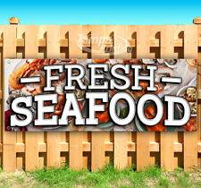 FRESH SEAFOOD Advertising Vinyl Banner Flag Sign Many Sizes USA