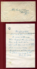 Feb 14 1857 Embossed Valentine with Handwritten Valentine Poem Calhoun GA V4
