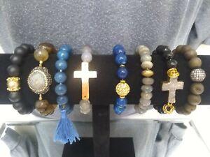 Stone Druzy Rhinestone Stretch Bracelet Lot Of (8) Taolei 18KGP FREE SHIP