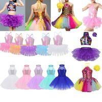 Girls Sequins Dancewear Leotard Latin Ballet Dress Dance Outfit Fairy Costume