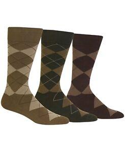 Polo Ralph Lauren Men's 3 Pack Argyle Dress Socks Khaki/Olive/Brown Size XL NWT