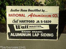Vintage 1950's Original Advertising Sign National Aluminum Siding Wall Master CT