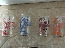 """Disney Snow White Dwarfs  4 Vintage Antique  4 1/2"""" Glasses"""