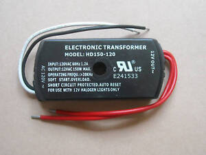 LOW VOLTAGE ELECTRONIC HALOGEN TRANSFORMER 120VAC TO12VAC 150W LIGHT DIMMABLE