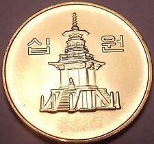 Gem Brilliant Unc South Korea 2005 10 Won~Pagoda at Pul Guk Temple~Free Shipping