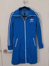 Adidas Originals Blue Trefoil Track Jacket Dress White Zippers M