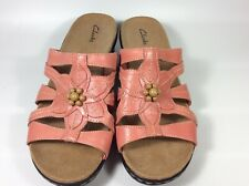 Clarks Rose Pink Leather Slides Open Toe Sandals 16724 Women's Size 9.5 XW