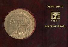 Jerusalem 3000 Years/city of King David Huge Medal 70mm Bronze in folder +stamps
