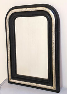 FRENCH ANTIQUE LOUIS PHILIPPE STYLE BLACK AND SILVERED MIRROR - c1900