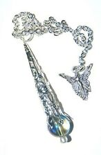 Amazing Mystic Celestial  Blue  Aura Quartz Crystal Pendulum & Angel - Hope Joy