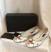 NEW Louis Vuitton White Multicolor PRIMROSE BALLERINA FLAT Shoes 36.5, 6.5