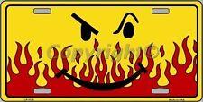 Smiley Flame Novelty Vanity Metal License Plate