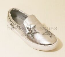 WOMENS LADIES METALIC STAR GLLITER LOAFERS FLATS TRAINERS PLIMSOLLS PUMPS SHOES