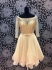 Gold Sequin Three Quarter Sleeve Short Dress Size 12