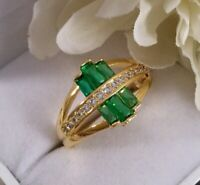 Vintage Jewelry Gold Ring with Emeralds White Sapphires Antique Deco Jewellery