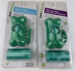 PETSHOPPE DOG CLEAN UP POOP BAGS GREEN CLIP ON BONE DISPENSER BAG ROLLS LOT OF 2