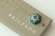 "Silpada RARE Compressed Turquoise Jewish Star ""Mazel Tov"" Pyrite Necklace N3184"