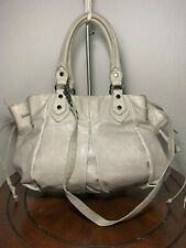 Botkier Large Gray Rugged Leather Tassel Satchel Tote Purse Carryall Bag GUC