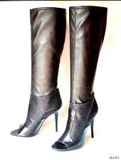 new $1195 Giuseppe ZANOTTI black leather GLITTER open-toe TALL BOOTS 40 10 -SEXY