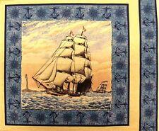 Port of Call Tall Ship Sailing on the Sea Panel Fabric Pillow Panel